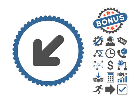 Arrow Down Left icon with bonus pictures. Vector illustration style is flat iconic bicolor symbols, cobalt and gray colors, white background.