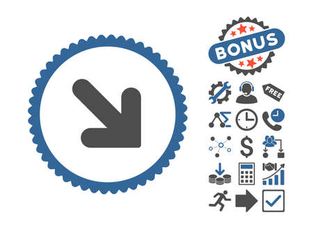 Arrow Down Right icon with bonus pictures. Vector illustration style is flat iconic bicolor symbols, cobalt and gray colors, white background. Illustration