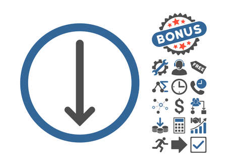 Arrow Down icon with bonus images. Vector illustration style is flat iconic bicolor symbols, cobalt and gray colors, white background.