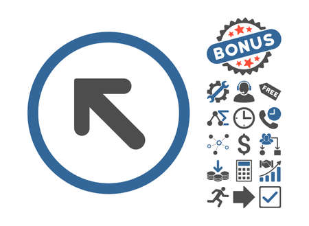 inclination: Arrow Left-Up icon with bonus icon set. Vector illustration style is flat iconic bicolor symbols, cobalt and gray colors, white background.