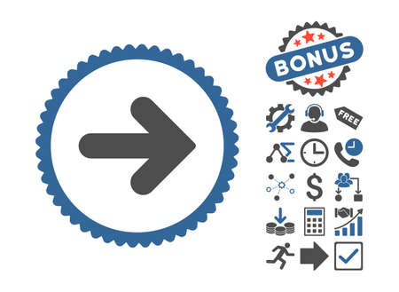 Arrow Right pictograph with bonus images. Vector illustration style is flat iconic bicolor symbols, cobalt and gray colors, white background.