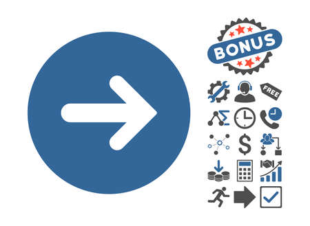 Arrow Right pictograph with bonus pictures. Vector illustration style is flat iconic bicolor symbols, cobalt and gray colors, white background.