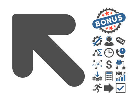 inclination: Arrow Up Left icon with bonus elements. Vector illustration style is flat iconic bicolor symbols, cobalt and gray colors, white background.