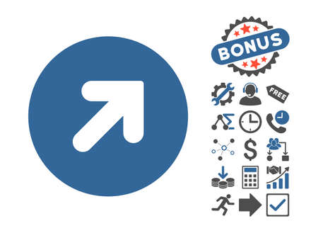 Arrow Up Right pictograph with bonus pictograph collection. Vector illustration style is flat iconic bicolor symbols, cobalt and gray colors, white background.