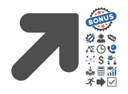 northeast: Arrow Up Right pictograph with bonus symbols. Vector illustration style is flat iconic bicolor symbols, cobalt and gray colors, white background.