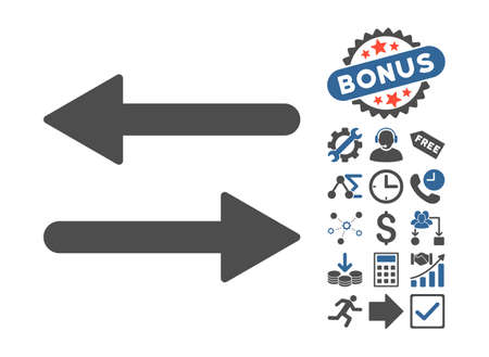 Arrows Exchange Horizontal icon with bonus symbols. Vector illustration style is flat iconic bicolor symbols, cobalt and gray colors, white background. Illustration
