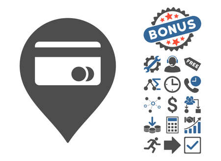 ATM Map Marker pictograph with bonus elements. Vector illustration style is flat iconic bicolor symbols, cobalt and gray colors, white background.