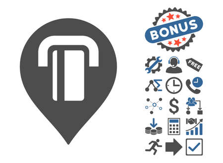 map marker: ATM Map Marker pictograph with bonus images. Vector illustration style is flat iconic bicolor symbols, cobalt and gray colors, white background.