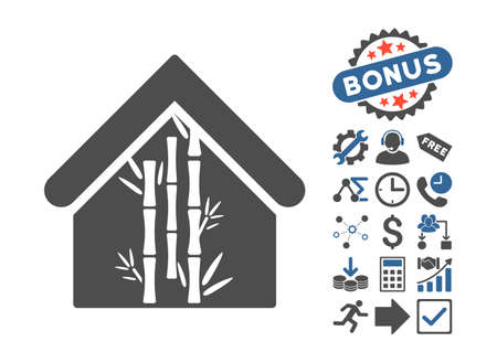 bamboo house: Bamboo House pictograph with bonus pictograph collection. Vector illustration style is flat iconic bicolor symbols, cobalt and gray colors, white background.