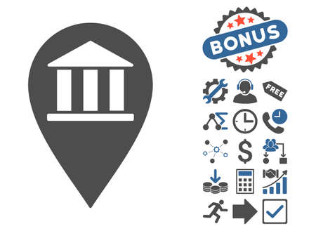 financial position: Bank Building Pin pictograph with bonus symbols. Vector illustration style is flat iconic bicolor symbols, cobalt and gray colors, white background.