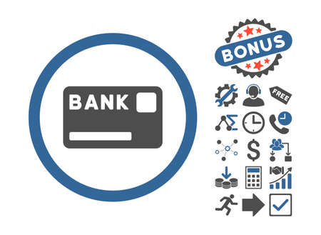 creditcard: Bank Card icon with bonus icon set. Vector illustration style is flat iconic bicolor symbols, cobalt and gray colors, white background.