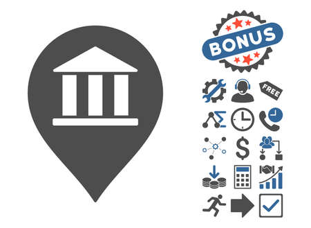 Bank Building Pointer icon with bonus symbols. Vector illustration style is flat iconic bicolor symbols, cobalt and gray colors, white background.