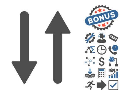Arrows Exchange Vertical icon with bonus elements. Vector illustration style is flat iconic bicolor symbols, cobalt and gray colors, white background.