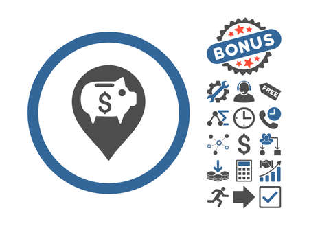 financial position: Bank Pointer pictograph with bonus pictures. Vector illustration style is flat iconic bicolor symbols, cobalt and gray colors, white background.