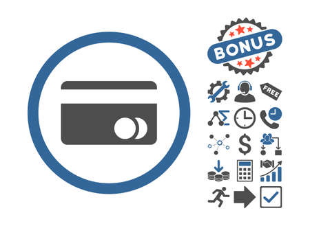 creditcard: Banking Card icon with bonus elements. Vector illustration style is flat iconic bicolor symbols, cobalt and gray colors, white background.