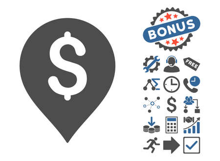 Banking Map Marker icon with bonus design elements. Vector illustration style is flat iconic bicolor symbols, cobalt and gray colors, white background.