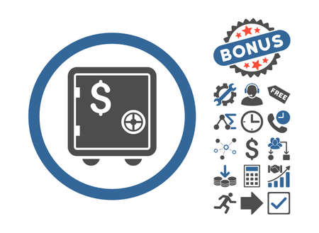 strong box: Banking Safe pictograph with bonus pictograph collection. Vector illustration style is flat iconic bicolor symbols, cobalt and gray colors, white background. Illustration