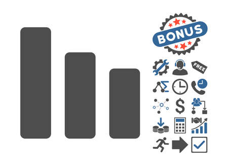 decrease: Bar Chart Decrease pictograph with bonus design elements. Vector illustration style is flat iconic bicolor symbols, cobalt and gray colors, white background.