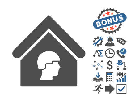 guard house: Barrack Building pictograph with bonus pictures. Vector illustration style is flat iconic bicolor symbols, cobalt and gray colors, white background.