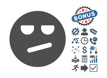 miserable: Bored icon with bonus pictograph collection. Vector illustration style is flat iconic bicolor symbols, cobalt and gray colors, white background.