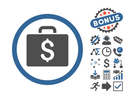 book case: Accounting Case icon with bonus elements. Vector illustration style is flat iconic bicolor symbols, cobalt and gray colors, white background.