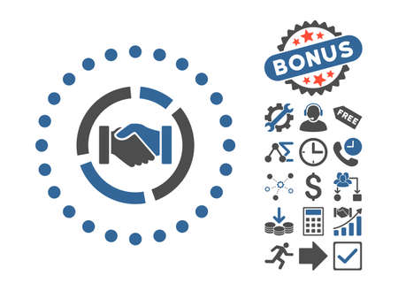 acquisition: Acquisition Diagram icon with bonus pictogram. Vector illustration style is flat iconic bicolor symbols, cobalt and gray colors, white background.