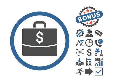 business case: Business Case icon with bonus clip art. Vector illustration style is flat iconic bicolor symbols, cobalt and gray colors, white background. Illustration