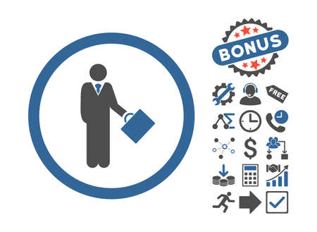 moneymaker: Businessman pictograph with bonus pictograph collection. Vector illustration style is flat iconic bicolor symbols, cobalt and gray colors, white background. Illustration