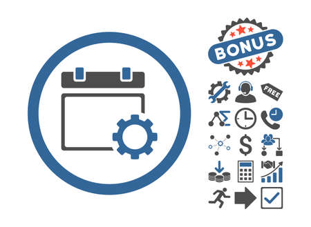 schedule system: Calendar Options icon with bonus pictures. Vector illustration style is flat iconic bicolor symbols, cobalt and gray colors, white background. Illustration