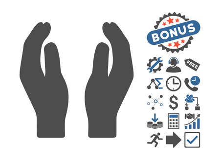 carefully: Care Hands pictograph with bonus elements. Vector illustration style is flat iconic bicolor symbols, cobalt and gray colors, white background. Illustration