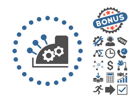 compute: Cash Register pictograph with bonus clip art. Vector illustration style is flat iconic bicolor symbols, cobalt and gray colors, white background.