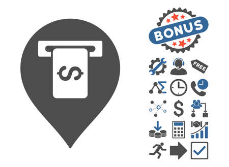 financial position: Cash Terminal Pointer icon with bonus pictograph collection. Vector illustration style is flat iconic bicolor symbols, cobalt and gray colors, white background.