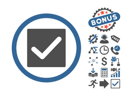 marked boxes: Check icon with bonus pictograph collection. Vector illustration style is flat iconic bicolor symbols, cobalt and gray colors, white background.