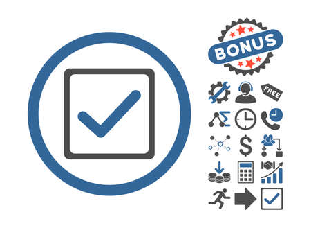 checkbox: Checkbox pictograph with bonus elements. Vector illustration style is flat iconic bicolor symbols, cobalt and gray colors, white background. Illustration