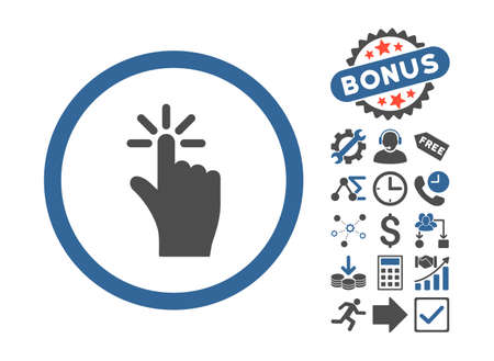 vote here: Click pictograph with bonus pictogram. Vector illustration style is flat iconic bicolor symbols, cobalt and gray colors, white background.