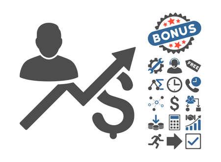 Client Sales Chart icon with bonus symbols. Vector illustration style is flat iconic bicolor symbols, cobalt and gray colors, white background.