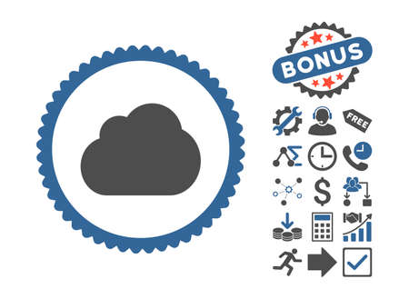 saas: Cloud pictograph with bonus elements. Vector illustration style is flat iconic bicolor symbols, cobalt and gray colors, white background. Illustration