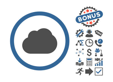 saas: Cloud icon with bonus icon set. Vector illustration style is flat iconic bicolor symbols, cobalt and gray colors, white background.