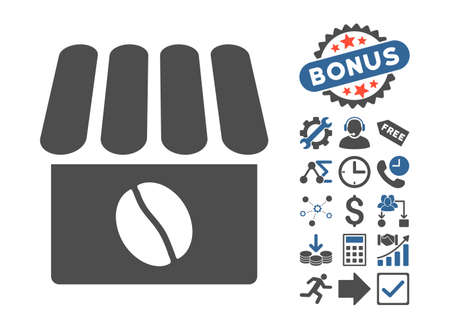 cobalt: Coffee Shop icon with bonus images. Vector illustration style is flat iconic bicolor symbols, cobalt and gray colors, white background.