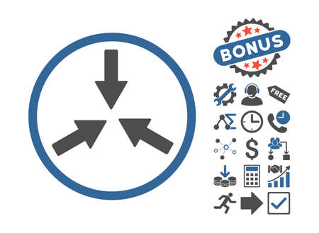 Collide Arrows icon with bonus symbols. Vector illustration style is flat iconic bicolor symbols, cobalt and gray colors, white background. Illustration