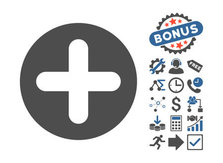 firstaid: Create pictograph with bonus icon set. Vector illustration style is flat iconic bicolor symbols, cobalt and gray colors, white background. Illustration