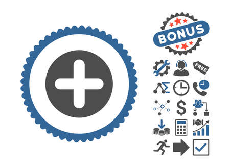 firstaid: Create icon with bonus pictures. Vector illustration style is flat iconic bicolor symbols, cobalt and gray colors, white background.