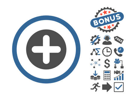 firstaid: Create pictograph with bonus design elements. Vector illustration style is flat iconic bicolor symbols, cobalt and gray colors, white background.