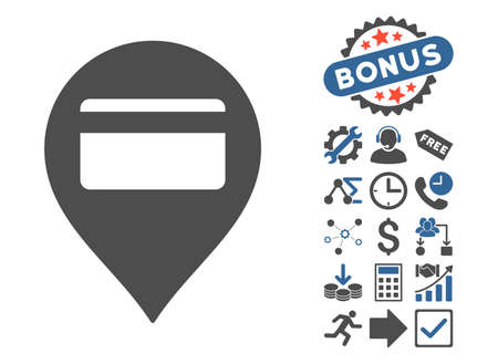 Credit Card Pointer pictograph with bonus elements. Vector illustration style is flat iconic bicolor symbols, cobalt and gray colors, white background.