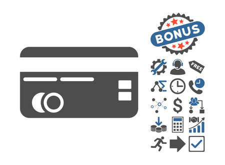 creditcard: Credit Card icon with bonus clip art. Vector illustration style is flat iconic bicolor symbols, cobalt and gray colors, white background.