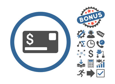 cobalt: Credit Card pictograph with bonus images. Vector illustration style is flat iconic bicolor symbols, cobalt and gray colors, white background.