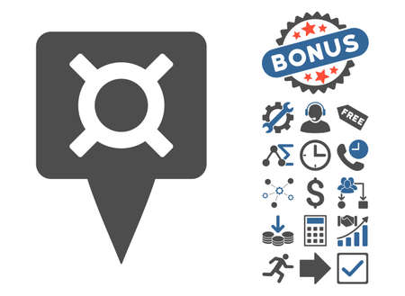 financial position: Currency Map Pointer pictograph with bonus pictogram. Vector illustration style is flat iconic bicolor symbols, cobalt and gray colors, white background. Illustration