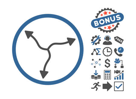 Curve Arrows pictograph with bonus symbols. Vector illustration style is flat iconic bicolor symbols, cobalt and gray colors, white background. Illustration