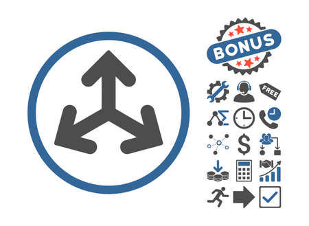 variants: Direction Variants icon with bonus icon set. Vector illustration style is flat iconic bicolor symbols, cobalt and gray colors, white background. Illustration