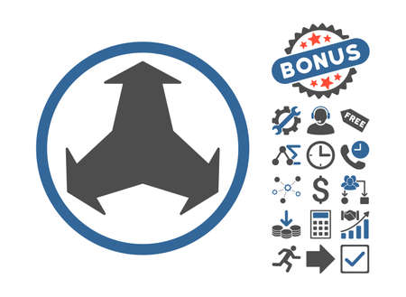 Directions pictograph with bonus pictograph collection. Vector illustration style is flat iconic bicolor symbols, cobalt and gray colors, white background.